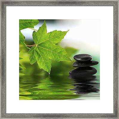 Zen Stones On Water Framed Print