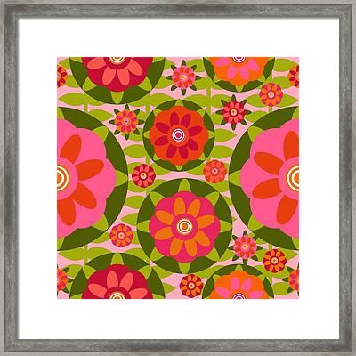 Framed Print featuring the digital art Zinnia Garden by Lisa Noneman