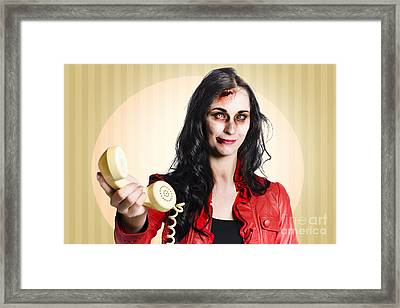 Zombie Business Person Handing Over Bad News Phone Framed Print by Jorgo Photography - Wall Art Gallery