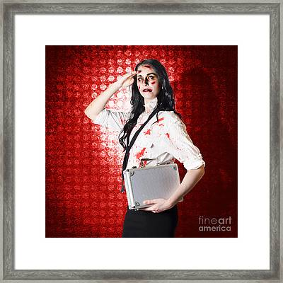 Zombie Business Woman In Red Alert Emergency Framed Print