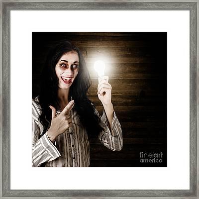 Zombie Girl Holding Lightbulb With Bad Idea Framed Print