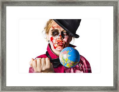 Zombie Holding Knife In Globe Framed Print by Jorgo Photography - Wall Art Gallery