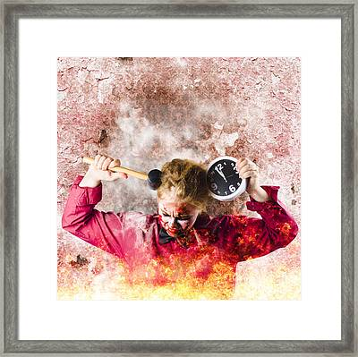Zombie In Fire Holding Clock. Out Of Time Framed Print by Jorgo Photography - Wall Art Gallery