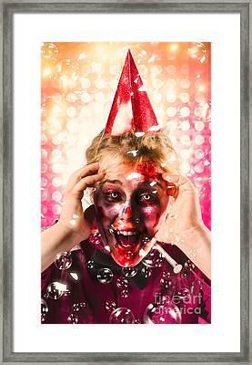 Zombie In Party Hat. Halloween Party Celebration Framed Print