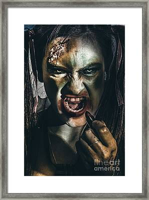 Zombie Prom Queen Woman Putting On Lipstick Makeup Framed Print