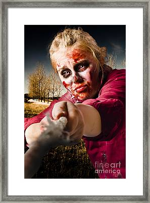 Zombie Pulling Tug Of War Rope. Determined Spirit Framed Print