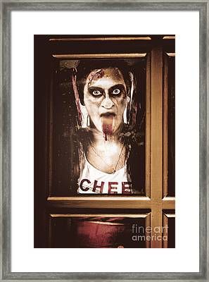 Zombie School Girl Pulling A Funny Face On Glass Framed Print by Jorgo Photography - Wall Art Gallery