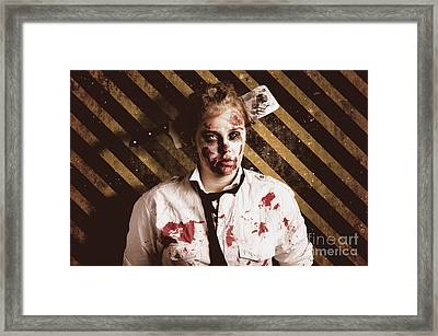 Zombie Standing On Outbreak Warning Background Framed Print by Jorgo Photography - Wall Art Gallery
