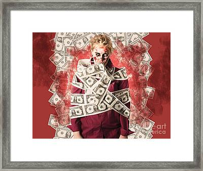 Zombie Tied Up In Financial Debt. Dead Money Framed Print