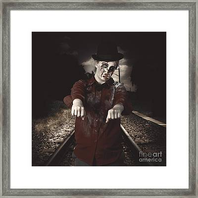 Zombie Walking Undead Down Train Tracks Framed Print by Jorgo Photography - Wall Art Gallery