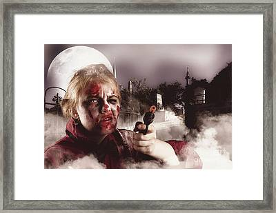 Zombie With Gun In Graveyard. Full Moon Nightmare Framed Print by Jorgo Photography - Wall Art Gallery