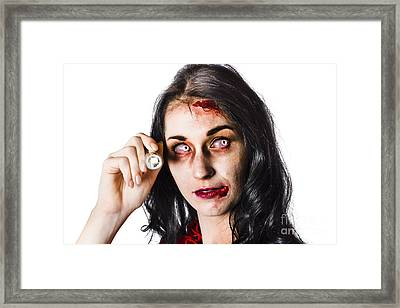 Zombie Woman Holding Flashlight On White Framed Print by Jorgo Photography - Wall Art Gallery