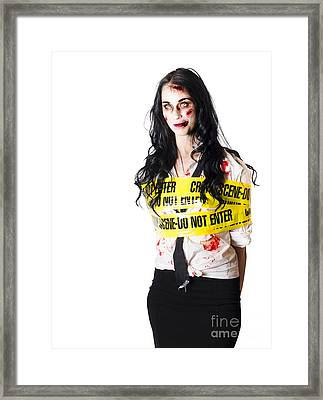 Zombie Woman Taped Up Framed Print by Jorgo Photography - Wall Art Gallery