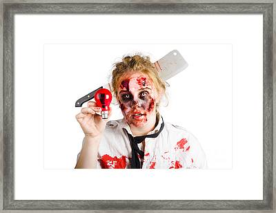 Zombie Woman With Bright Idea Framed Print