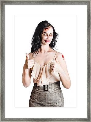 Zombie Woman With Thumbs Up Framed Print by Jorgo Photography - Wall Art Gallery