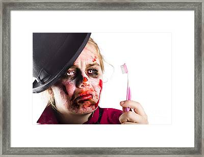Zombie Woman With Toothbrush Framed Print by Jorgo Photography - Wall Art Gallery