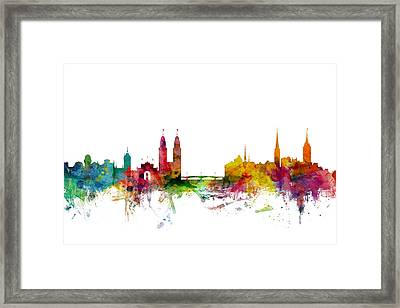 Zurich Switzerland Skyline Framed Print