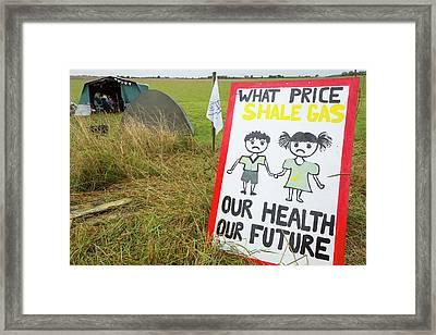 A Protest Banner Against Fracking Framed Print by Ashley Cooper
