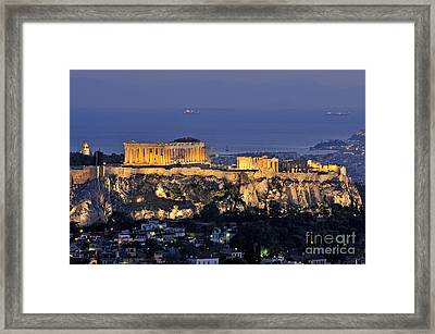 Acropolis Of Athens During Dusk Time Framed Print by George Atsametakis