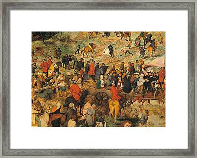 Ascent To Calvary, By Pieter Bruegel Framed Print