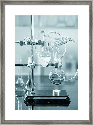 Chemistry Experiment In Lab Framed Print by Wladimir Bulgar
