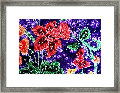 Colorful Batik Cloth Fabric Background  Framed Print by Prakasit Khuansuwan