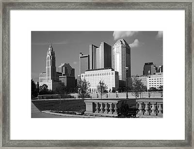 Downtown Skyline Of Columbus Ohio Framed Print by Bill Cobb