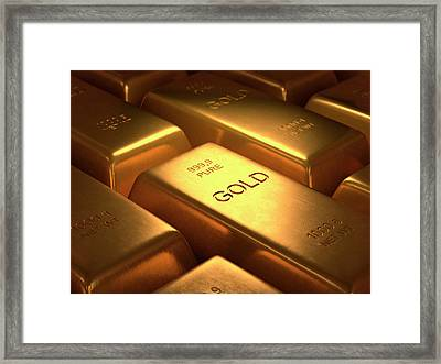 Gold Bullion Framed Print by Ktsdesign