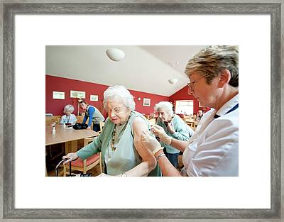 Influenza Vaccination Framed Print by Dr P. Marazzi/science Photo Library