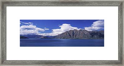 Lake With Mountain Range Framed Print
