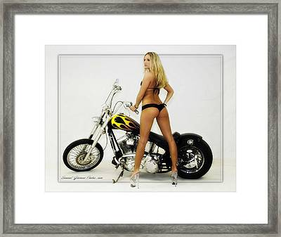 Models And Motorcycles Framed Print