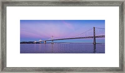 Suspension Bridge Over Pacific Ocean Framed Print