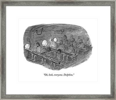 Oh, Look, Everyone. Dolphins Framed Print