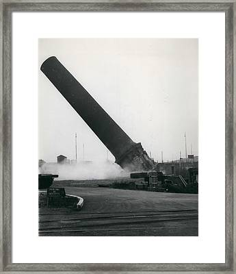 100-foot Chimney Stack Demolished At Silvertown Framed Print by Retro Images Archive