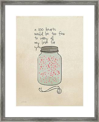 100 Hearts Framed Print by Jo Moulton