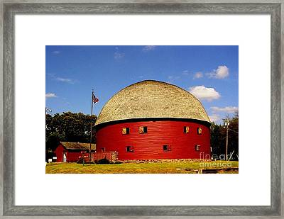 Framed Print featuring the photograph 100 Year Old Round Red Barn  by Janette Boyd