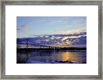 1000 Island Bridge Sunrise Framed Print by David Simons