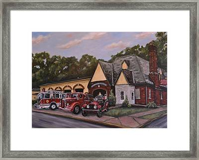 100th Anniversary Commemorative Painting Of The Reiffton Fire House Framed Print