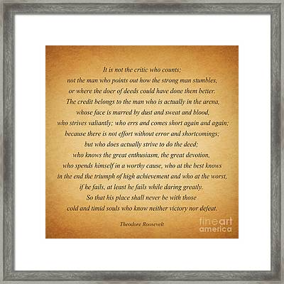 104- Theodore Roosevelt Framed Print