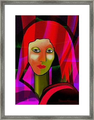 1077 - Colourful Portrait Of A Lady Framed Print by Irmgard Schoendorf Welch