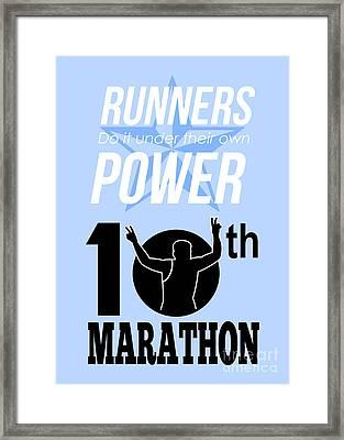 10th Marathon Race Poster  Framed Print