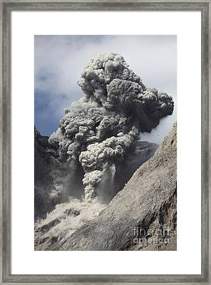 Ash Cloud Rises From Crater Of Batu Framed Print by Richard Roscoe