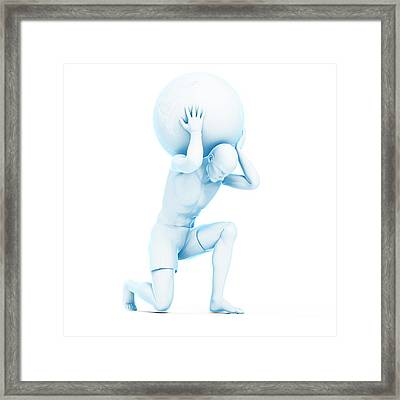 Atlas Lifting Globe Framed Print by Sciepro/science Photo Library