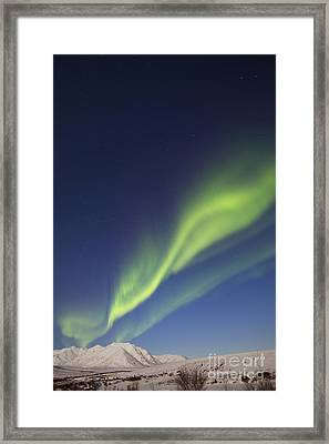 Aurora Borealis With Moonlight Framed Print by Joseph Bradley