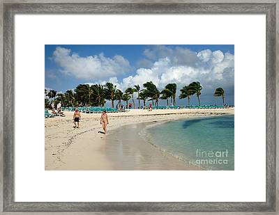 Beach At Coco Cay Framed Print