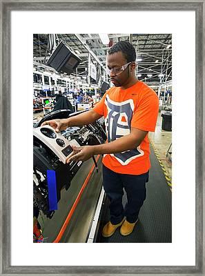 Car Dashboard Assembly Line Framed Print