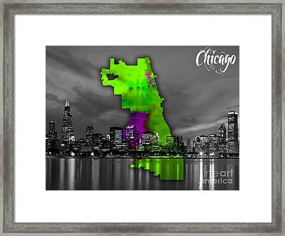 Chicago Map And Skyline Watercolor Framed Print