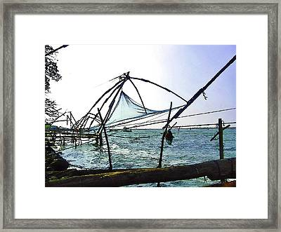 Fishing Nets On The Sea Coast In Alleppey Framed Print