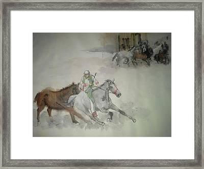 Italian Il Palio Horse Race Album Framed Print by Debbi Saccomanno Chan
