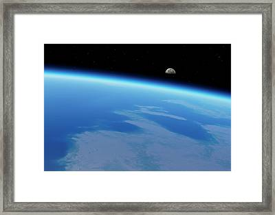 Moonrise Over Earth Framed Print by Detlev Van Ravenswaay